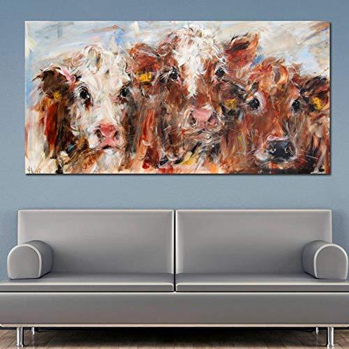 SUNNYFOR Rahmenlose Malerei Abstrakte Kunst Bunte Kuh Wandkunst Malerei Drucke Und Poster Moderne Dekorative Bilder Für Wohnzimmer Cuadros Decor Ungerahmt -