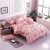 zyhYH Einfache Bettwäscheserie - Bettdecken und Laken, Kissenbezüge, vierteilige Bettwäsche,Einfache Baumwolle vierteilige Bettwäsche Bettbezug Farbe19 Größe2