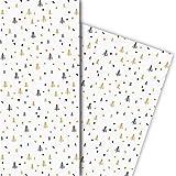 Kartenkaufrausch Designer Weihnachtspapier, Geschenkpapier Set zu Weihnachten mit grafischen, kleinen Weihnachtsbäumen, weiß, für tolle Geschenk Verpackung, Designpapier, 4 Bogen, 32 x 48cm