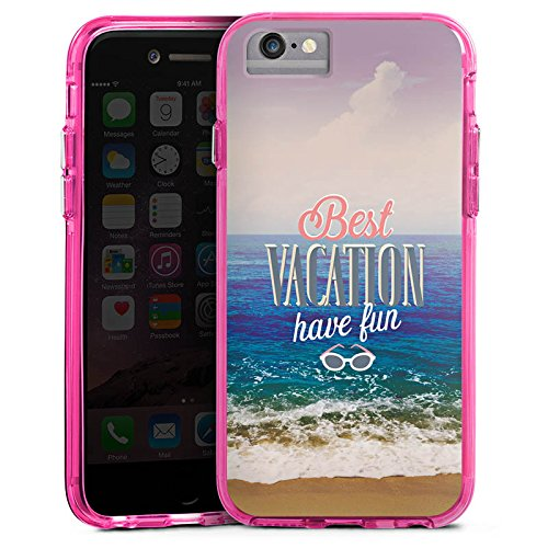 Apple iPhone 6 Plus Bumper Hülle Bumper Case Glitzer Hülle Urlaub Mer Ocean Bumper Case transparent pink