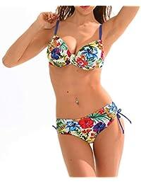 Maillot de Bain Femme 2 pièces Bikini Armature Culotte Réglable