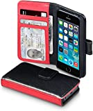 iPhone 5S / 5 Case, Terrapin [Stand Feature] [Dual Colour] PU Leather iPhone 5S / 5 Wallet Case with Card Slots ID Window Bill Compartment Viewing Stand Case for iPhone 5S / 5 - Black / Red