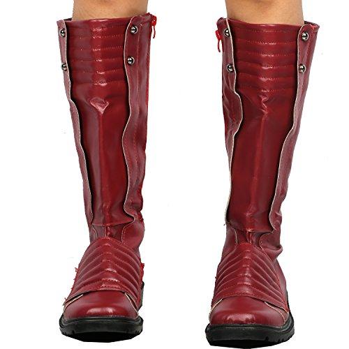 Rote PU Schuhe Shoes für Cosplay Abendkleid und Halloween Kostüm Costume Zubehör Mann 44 (Mj Halloween-kostüme)