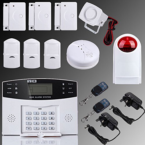 Security4U XF LCD Security Wireless GSM Home Alarm System Autodial SMS Call for House Burglar Intruder support GSM Alarm Control Host Outdoor Siren PIR Motion Detector and Door/Window Gap Detector