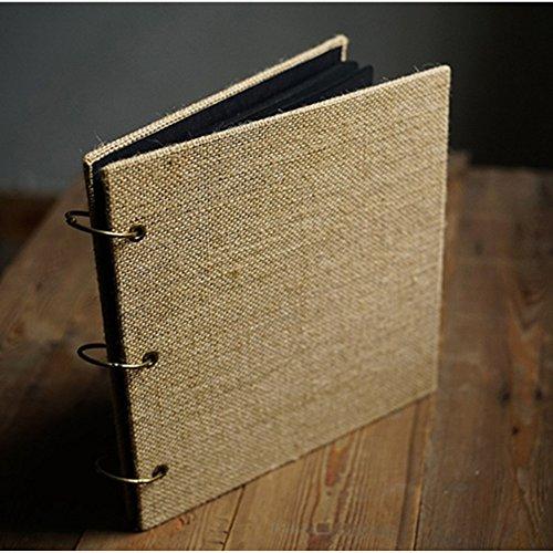 Debon Mehrzweck Retro Jute Fotoalbum DIY manuelle Scrapbook Square black inner paper (Quadratisches schwarzes inneres Papier)
