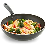 VonShef Premium Aluminium Wok - 28cm Non-Stick Induction Safe Cool Touch Silicone Handles - Black