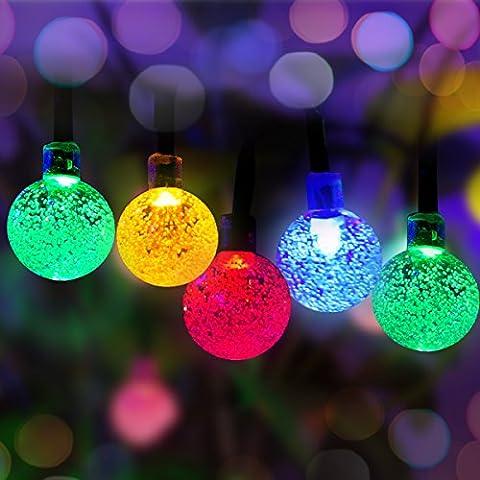 50 LED Guirlande Lumineuse à Energie Solaire de Plein air Panpany 6.8 mètres Multicolor Blanche Boule de Cristal Noël Globe Lumières Eclairage Décoration pour Jardin, Patio, Cour, Maison, Arbre de Noël, les