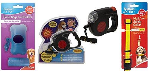 Correa extensible para perros de 15 pies – Correa para perro con linterna LED y cuello reflectante con bolsas de plástico