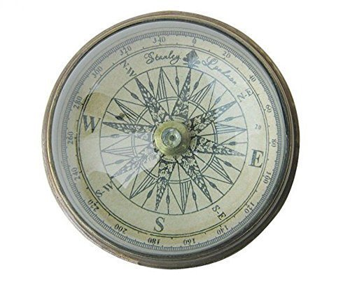 Antiker Biedermeier Kompass mit Domglas in edlem Altmessinggehäuse