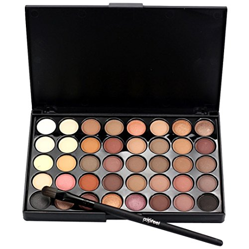 Eyeshadow Palette, Bestow Cosmetic Matte Eyeshadow 40 Color Cream Makeup Palette Shimmer + Brush Set (Black A)