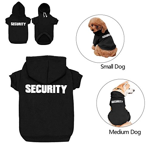 Didog Hund Hoodies Sweatshirts für Kleine Mittelgroße Hunde, Haustier Kleidung für Puppy Pudel Yorkie Jack Russel Terrier, Schwarz, L:Chest 17.5