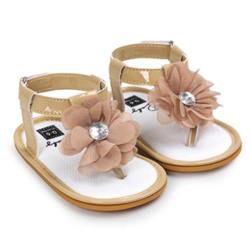 kingko® Baby Blumen Perlen Sandelholz Kleinkind Prinzessin erste Wanderer Mädchen Kind Schuhe Khaki