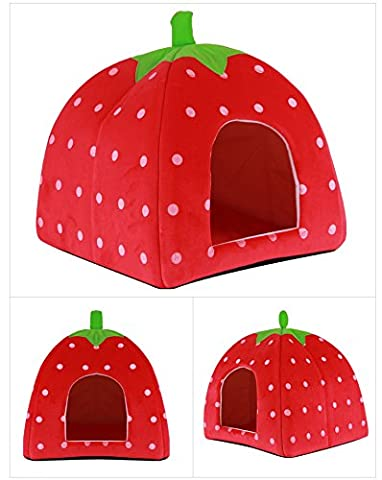 Keysui Lovely Cute Cashmere Foldable Soft Strawberry Warm Pet Dog Cat Puppy Bed Tent House