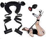 Sexandtoy™ Kit sadomaso Set letto Bondage Costrittivo collare Cuscino morbido collo polsi caviglie+Plug silicone nero con pietra