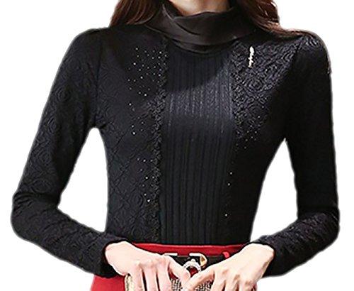 confit you - Damen Thermo Winter Bluse mit Samtfutter und weichfallendem Rollkragen, 42, Schwarz (Rollkragen Jersey Seide)