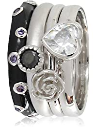 Stack Ring Co, Sterling Silver,Orbital Love, Rhodium Plated,Silver Flower,Black Enamel Band And White Cz Heart, Four Band Prima Stack Ring