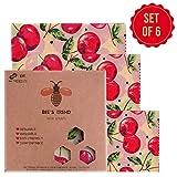 Bee's Trend Lot de 6 Emballages en cire d'abeille, emballages alimentaires naturels, zéro déchet pour fromage et sandwiches,...