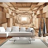 murando - Fototapete 250x175 cm - Vlies Tapete - Moderne Wanddeko - Design Tapete - Wandtapete - Wand Dekoration - Tunnel 3D Holz Beige a-A-0125-a-b