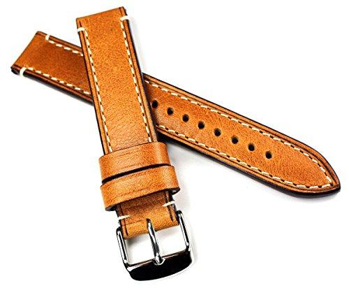 18mm RIOS1931 CT XL kräftiges Rindsleder Military Style Armband Retro Look Quality Strap hell braun Militär Marine Flieger Uhrenband Band Top Qualität
