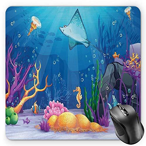 BGLKCS Ocean Mauspads Mouse Pad, Sealife Navy Fish Moss Shells Bubbles Stones and Sunbeams Rays Cartoon Style Print, Standard Size Rectangle Non-Slip Rubber Mousepad, Multicolor Navy Bubble