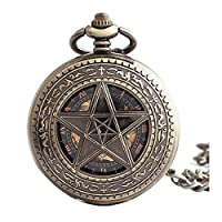 Lekima Pocket Watch Pentagram Star Roman Numeral Engraved Pattern Skeleton Mechanical Movement Automatic Clamshell Single Alloy Chain Retro Gift For Men Women
