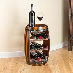 Christow Wooden Barrel Wine Rack Wood Bottle Holder Table Top 8 Bottles H50cm