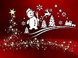 Winterlandschaft Weiss - Aufkleber, Mix-Set, Fensterdekoration zu Weihnachten - Schneemann, Sterne, Tannenbaum, Rentier Fensterbild / Fensteraufkleber, Wandtattoo Deko Sticker, Autoaufkleber, Weihnachtsdekoration, Schaufenster In- und Outdoor 70019-58x35