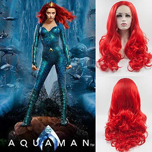 Blue Bird Mera Cosplay Perücke, Kunsthaar, Lace-Front-Perücke, langes Haar, gewellt, natürlich, gewellt, hitzebeständige Faser für Frauen und den täglichen Gebrauch