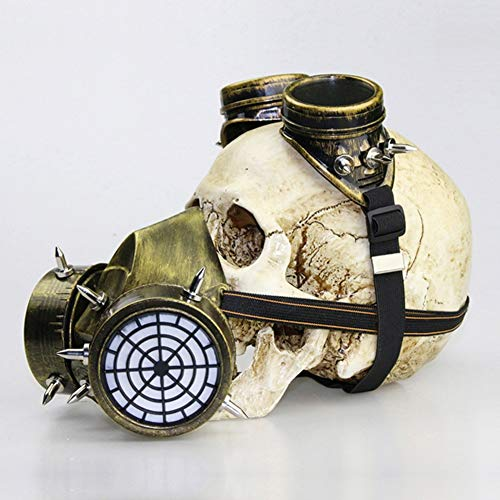 HHSJL Steampunk Schnabel Maske Mittelalterliche Pest Maske Doktor Kopf Maske Kostüm Gasmaske Brille Erwachsenes Zubehör Halloween Party Karneval Requisiten Geschenk,Gold (Kostüm Masken Spike)