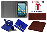 Acm Rotating 360° Leather Flip Case For Micromax Canvas Tab P290 Cover Stand Dark Blue