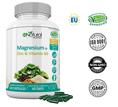 ZMA Magnesio Zinc y Vitamina B6. Suplemento Natural 100% Aumenta...