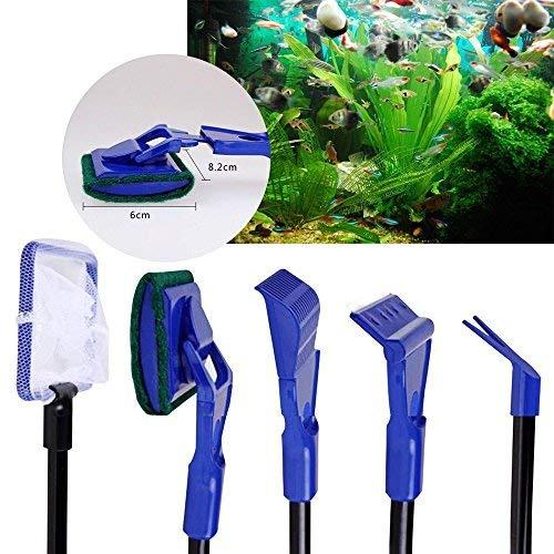 niceEshop(TM) 5 in 1 Multifunktion Aquarium Pinsel Algen Bürsten Kies Wasserpflanzen Clip Fischernetz Rake