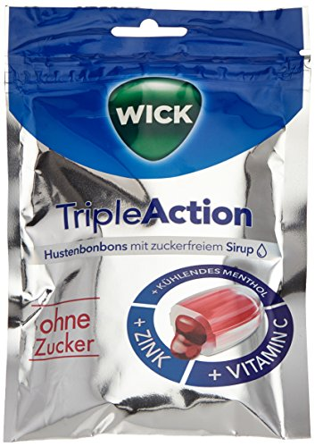 WICK Triple Action ohne Zucker, 10er Pack (10 x 72 g) - Menthol-sirup