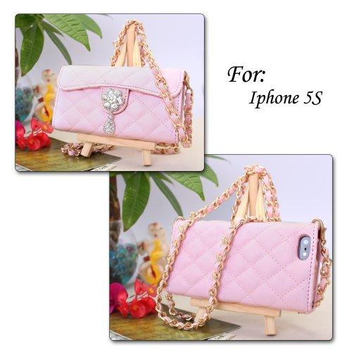 PDNcase iPhone 5S Hülle Premium Ledertasche Wallet Brieftasche Schutzhülle Case Tasche Compatible für iPhone 5s Color Pink Pink
