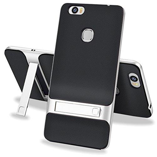 MOONCASE Huawei Honor Note 8 Hülle, Hybrid Kratzfeste stoßdämpfende TPU +PC Bumper Frame Dual Layer Tasche Schutzhülle mit Ständer für Huawei Honor Note 8 (Schwarz Silber)