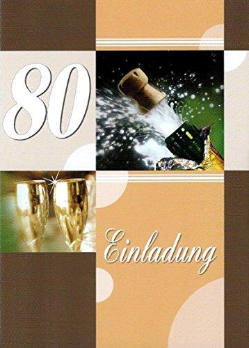 Einladungskarten 80. Geburtstag Frau Mann mit Innentext Motiv Sektkorken 10 Klappkarten DIN A6 im Hochformat mit weißen Umschlägen im Set Geburtstagskarten Einladung 80 Geburtstag Mann Frau K136 (80. Geburtstag Einladungen)