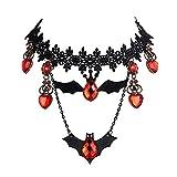 XY Fancy Gothic Halloween Bib Choker Retro Fledermaus Strass Herz Kristallanhänger Spitze Halskette, Schwarz Rot