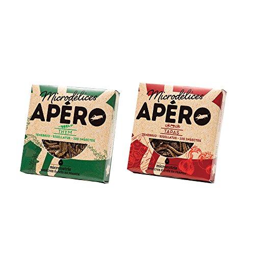 2 varietà di snacks di 100 insetti commestibili gusto tapas e timo, senza glutine