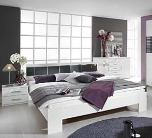 Lit-table de chevet-combinaison aarau «plus» blanc/chromé/platine brillant largeur: 285 cm