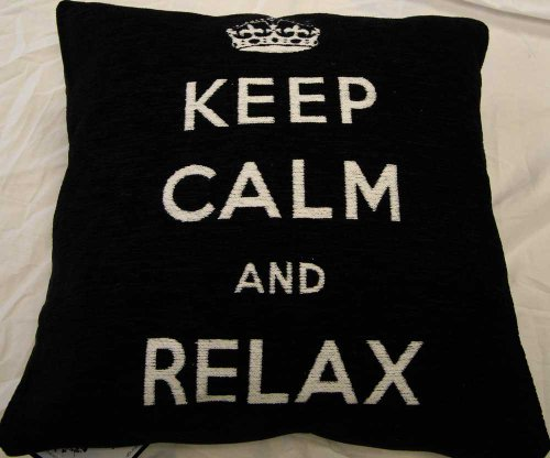 Keep Calm And Relax Black & White Chenille Scatter Square Cushion Cover New!