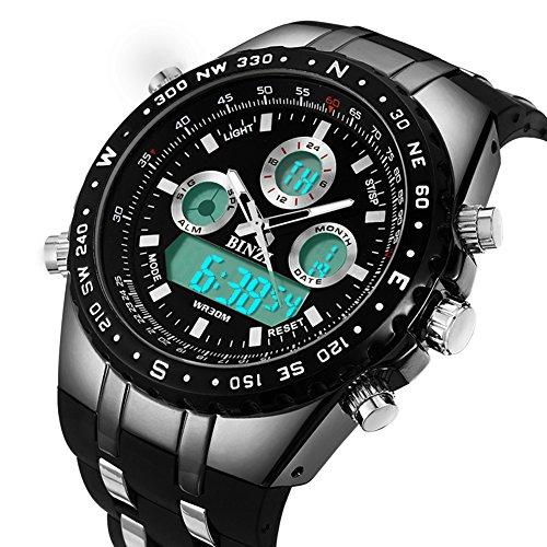BINZI Militär Herren Armbanduhr Wasserdichte Sport-Uhren Digitaluhr Luxus-LED-Licht Dual-Display mit schwarzem Silikonband