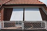 Leco Sonnenrollo B 200 cm, Aluminium, Kunststoffgewebe, weiß / grau