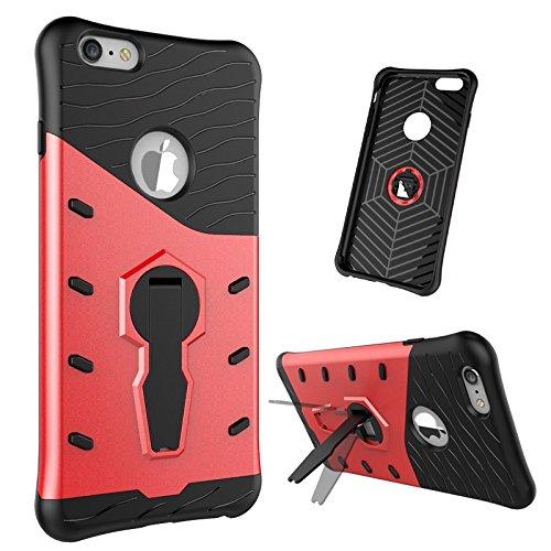 iPhone Case Cover 2 en 1 New Armour Tough Style hybride double couche d'armure Defender PC Hard cas avec support cas d'antichoc pour iPhone 6 plus 6s plus ( Color : Black , Size : Iphone 6s Plus ) Red