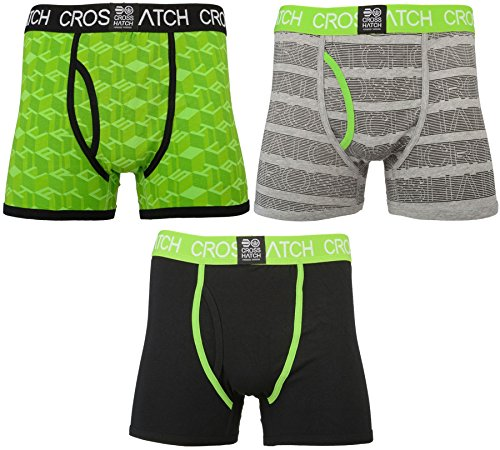 CrossHatch Herren Boxershorts Causeway, 3er Pack Jasmine Green