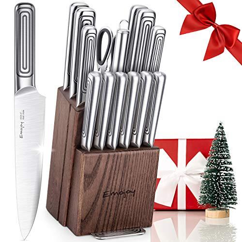 Emojoy Messerblock Messerset, 15-teiliges Küchenmesser Set, Edelstahl Kochmesser Set mit Holz Block,Spaltenfreie Verbindung