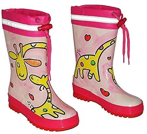 Gummistiefel - Giraffe rosa - mit Reflektor + zum Schnüren - Größe 22 - für Kinder / Mädchen - Naturkautschuk + Innenfutter Baumwolle / Handbemalt mit 3-D Effekt - Giraffen Schnürung - Regenstiefel aus Naturgummi