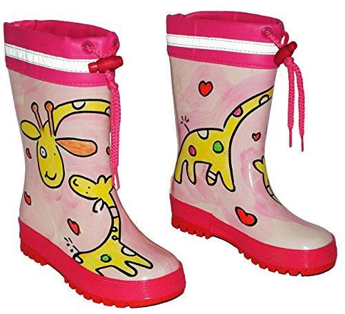 Gummistiefel - Giraffe rosa - mit Reflektor + zum Schnüren - Größe 32 - für Kinder / Mädchen - Naturkautschuk + Innenfutter Baumwolle / Handbemalt mit 3-D Effekt - Giraffen Schnürung - Regenstiefel au
