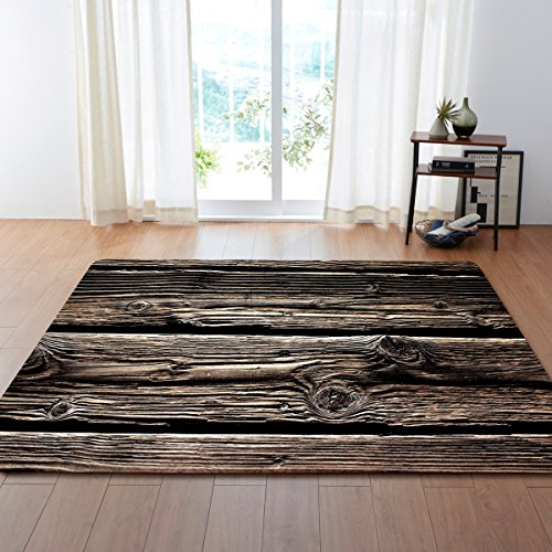 YEARGER Home Designer Teppich Wohnzimmer Exquisite Weinlese Holzmaserung Bodenmatte 120 * 160CM -