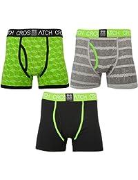 Crosshatch Pack 3 Chaussée Boxer Design Troncs Sous-vêtements Jasmin Vert