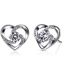 "'B. Catcher Heart Ladies Earrings 925Sterling Silver Cubic Zirconia ""LOVE IS HAPPINESS Jewellery Gift For Women"